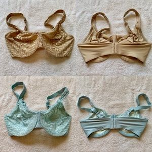 Bundle of 2 Olga Sheer Leaves Minimizer Bras 36DD